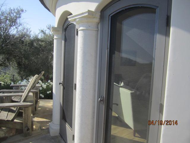 Custom Made Arched Wood Screen Doors installed in Malibu