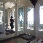 "Custom Made 108"" Single Retractable Screen Doors in Malibu"