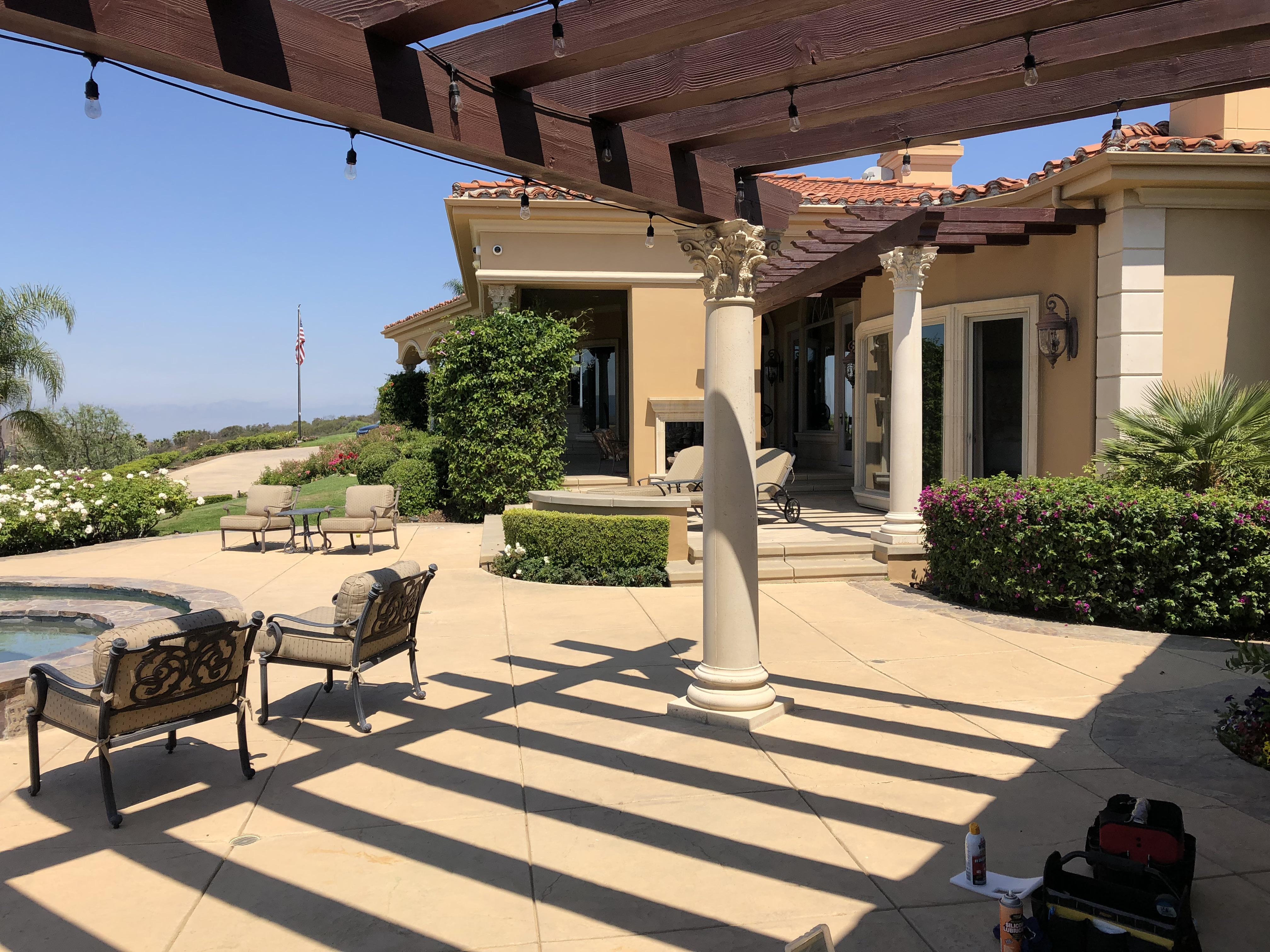Hinged patio door model vista in dessert tan in Calabasas