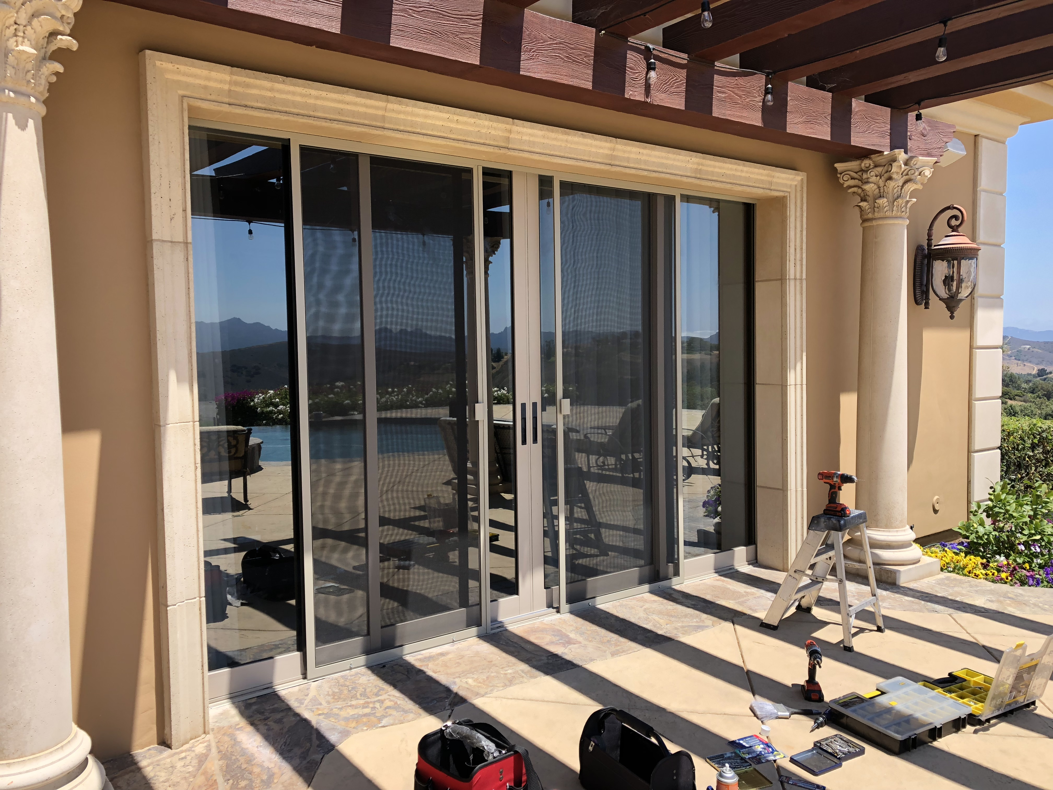 After Installation of Sliding patio doors in dessert tan
